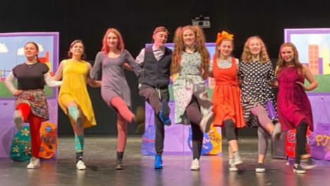 These CTP cast members--Sophie Perlstein, Eli Bizon, Mikayla Glancy, Jack Yampolsky, Lauren Reilly, Caroline Brinton, Isabella Marias, Macie Wilson-- polishe their performance of