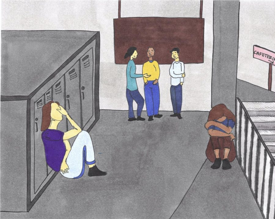 "STILL A STIGMA: Between 10 and 20 percent of teens experience mental health conditions, according to the World Health Organization. ""There still is a stigma but I would argue it's not as strong as it used to be because people are more open about it, the media encourages [discussing] it more often,"" said psychology teacher Ms. Onofry, ""but there still definitely is a stigma."" Illustrator Nora Khaled used blank paper alcohol based markers and fine-tipped pens to create this illustration."